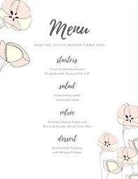 Coffee Drink Menu Template Wedding Food Reception Word