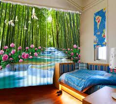 Natur Landschaft Vorhang Wasserfall Bambus Vorhänge Neue Fenster