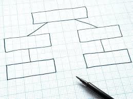 Download Blank Organization Chart Drawn On Graph Paper Stock Photo
