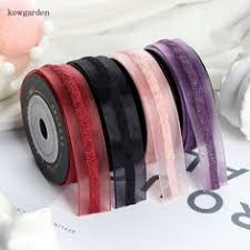 "US $5.98 | <b>Kewgarden 25mm</b> 40mm <b>1</b>"" Stripe Edge Voile Ribbon ..."