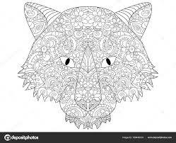 Goede Wolf Kop Raster Kleurplaten Voor Volwassenen Stockfoto