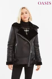 womens oasis black faux shearling biker jacket black next at westquay