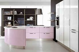 Cute Curved Kitchen Design With Two Tone Cabinets Also Wall Shelving