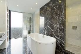 View in gallery Bathroom with marble walls and flooring