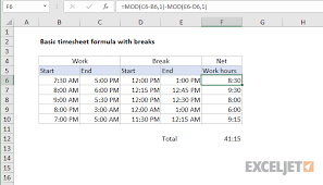 Timecard Calculation Excel Formula Basic Timesheet Formula With Breaks Exceljet