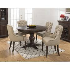 jofran geneva hills round to oval pedestal table 4 chairs set