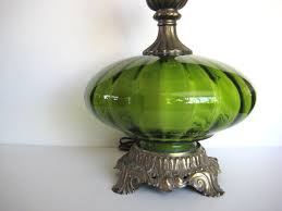 vintage green table lamp green glass lamp hollywood regency lamp via
