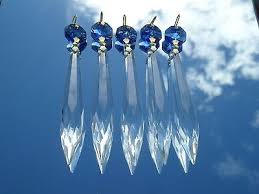 1 of 11free beautiful blue crystal cut glass crystal icicle chandelier drops x5 spare part