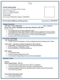 Resume Format For Mba Finance Fresher 1 Cv Templates Resume