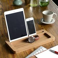 wooden ipad stand with extra storage space
