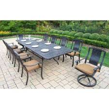 outdoor furniture with sunbrella fabric extendable piece rectangular cast aluminum patio dining set with canvas teak