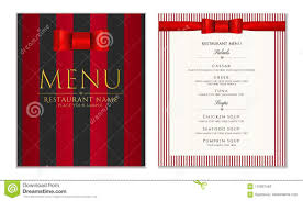 Design Restaurant Menu Template With Red Bow Ribbon And Strips ...