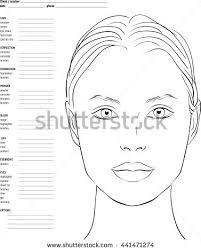 face chart makeup artist blank template stock vector royalty free 441471274 shutterstock