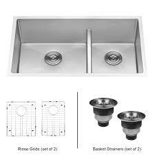 ruvati 33 inch low divide undermount tight radius 60 40 double bowl 16 gauge stainless steel kitchen sink rvh7419