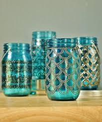 mason jar lantern morrocan style metal detailing on pea blue glass diy with puffy gold paints and blue glass paint