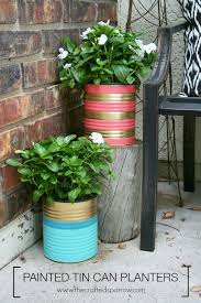 pretty painted tin can planters, container gardening, crafts, diy,  gardening, repurposing