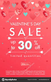 Valentines Day Special Offer Banner Different Hearts Sale