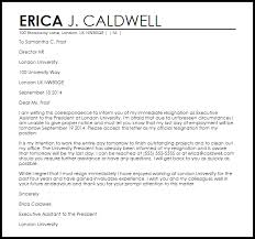 Sample Letters Of Resignation Magnificent Immediate Resignation Letter Sample Erkaljonathandedecker