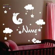 moon and stars wall decor elegant personalized name baby nursery room moon and star vinyl