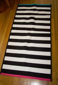 details about ikea black white stripe area throw rug mat runner reversible pink blue myrlilja