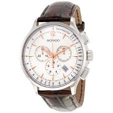 movado circa chronograph white dial brown leather strap men s movado circa chronograph white dial brown leather strap men s watch 0606576