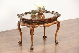 antique coffee table awesome sold carved fruitwood 1930 s vintage coffee table glass tray top