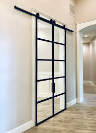 double steel and glass sliding barn doors