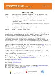 Media Advisory Media Advisory High Level Pledging Event For The Humanitarian