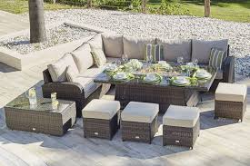 rattan corner sofa gas fire pit table