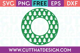 Vector christmas frame with fir branches, baubles, bells, candy cane and mistletoe. Free Svg Files Christmas Tree Circle Monogram Frame Design Cut That Design