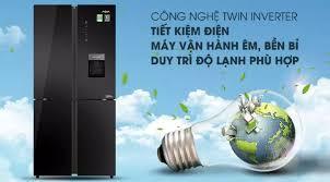 Tủ lạnh Aqua 4 cửa màu đen lấy nước ngoài AQR-IGW525EM(GB) 456 lít Chức