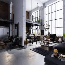 Living Room Design: High Ceilings Factory Windows Industrial Living Room  Decor - Industrial Living Room