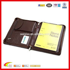 Three Folders Leather Portfolio With Card Holder Phone Holder And