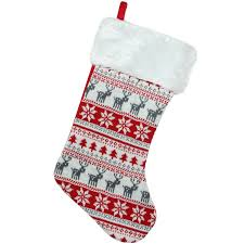Christmas Stocking Pattern With Cuff Stunning The Holiday Aisle Tree Deer And Snowflake Knit Christmas Stocking