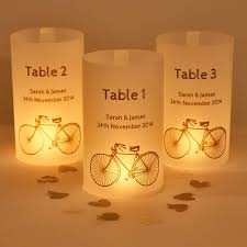 Cyclist Wedding Table Number Luminaries
