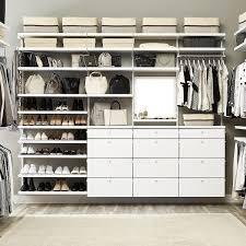 Walk In Closet White Elfa Daccor His Hers Walk In Closet The Container Store