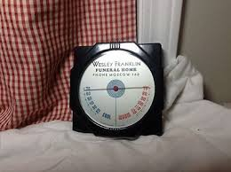Wesley Franklin Funeral Home, Moscow PA Thermometer, Bakelite Black Art  Deco | #475664881