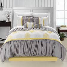 perfect queen size gray and yellow ruffled bedding set ideas