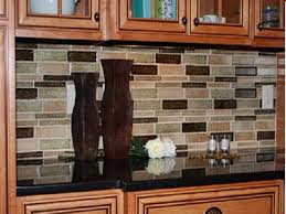 Kitchen Granite Countertops Ideas With Mosaic Tile Glass Backsplash Sheets  With Natural Rustic Brown Colors Wooden