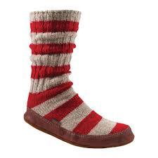 Acorn Slipper Sock Size Xl M Red Stripe Ragg Wool