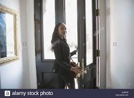 Businesswoman Walking Through Door Stock Photos Businesswoman