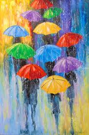 rain paintings fine art impressionism botanical fantasy nature people