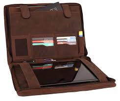 supreme business portfolio by rustic town professional organizer gift for men women durable leather padfolio easy to carry with a zippered closure