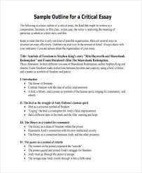examples of essay outlines critical essay outline sample