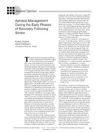 Aphasia Management During the Early Phases of Recovery Following ...