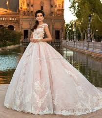 Pink Lace Princess Ball Gown Wedding Dresses 2017 Crystal Design