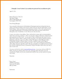 Cover Letter To Unknown Person Sample Adriangatton Com