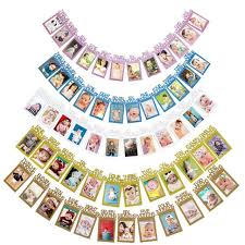 12pcs set 1 12 month baby photo frame banner flag party favor milestone for first birthday favor decoration