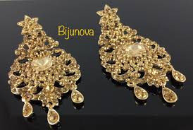 indian bollywood gold crystal style drop down dangle chandelier earrings bridal 1 of 9only 0 available