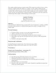 Free Sample Of Cna Resume Examples Resumes Nursing Assistant Co